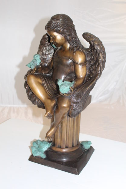 "Angel sitting on Column Bronze Statue -  Size: 10""L x 9""W x 22""H."
