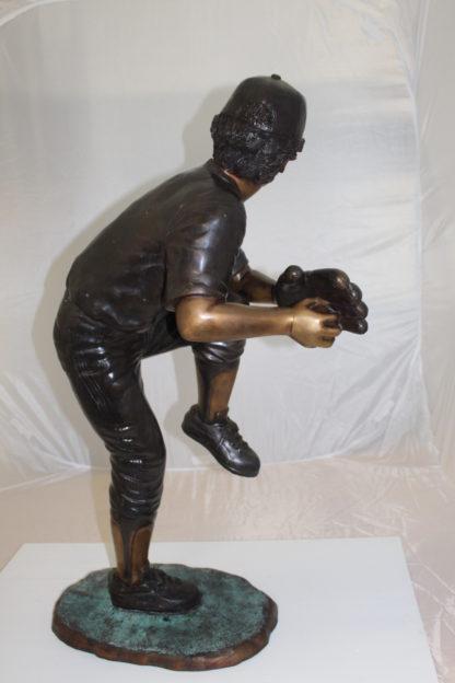 "Boy plays baseball Bronze Statue -  Size: 22""L x 12""W x 36""H."