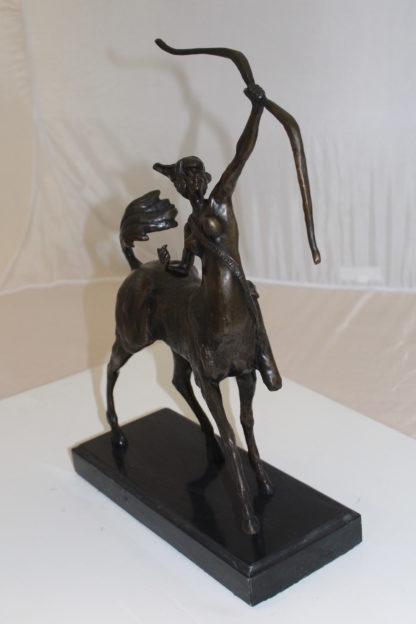 "horse woman shooting an arrow Bronze Statue -  Size: 14""L x 6""W x 20""H."