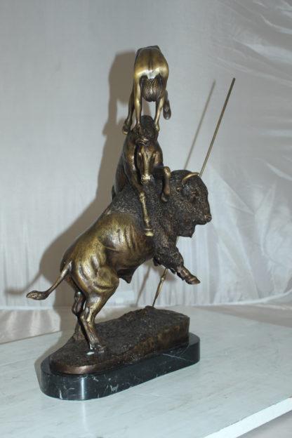 """Buffalo Horse by Remington Bronze Statue -  Size: 14""""L x 6""""W x 20""""H."""