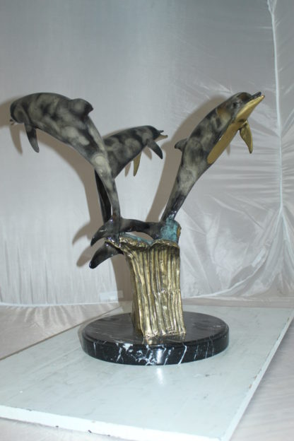 """Three Dolphins Table Base Bronze Statue -  Size: 20""""L x 20""""W x 21""""H."""