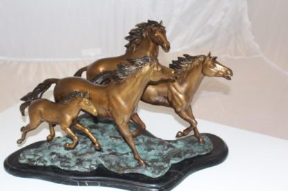 "Four horses running Bronze Statue -  Size: 20""L x 14""W x 12""H."