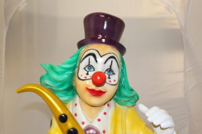 "Clown Standing with Saxophone Bronze Statue -  Size: 20""L x 15""W x 36""H."