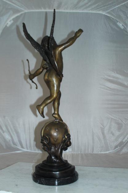 "Angel on Earth Bronze Statue -  Size: 10""L x 13""W x 32""H."