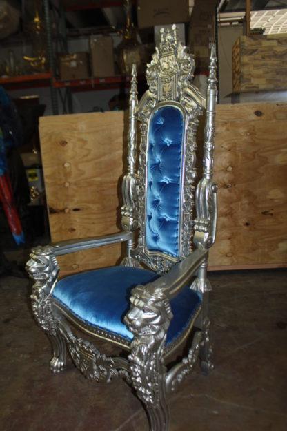 """Silver Blue Lion Chair -  Size: 70""""L x 36""""W x 26""""H."""
