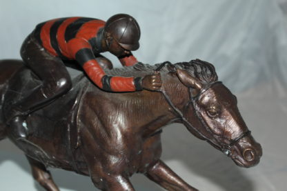 """Jockey with Horse -large Bronze Statue -  Size: 21""""L x 8""""W x 14""""H."""