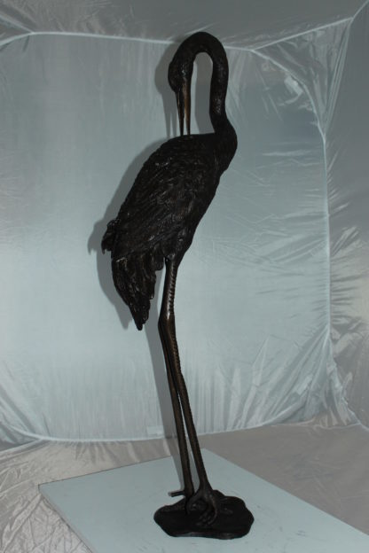 """Crane head down fountain Bronze Statue -  Size: 10""""L x 9""""W x 44""""H."""