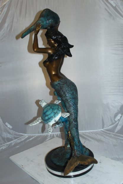 """Mermaid 43 holding a shell fountain Bronze Statue -  Size: 14""""L x 24""""W x 43""""H."""