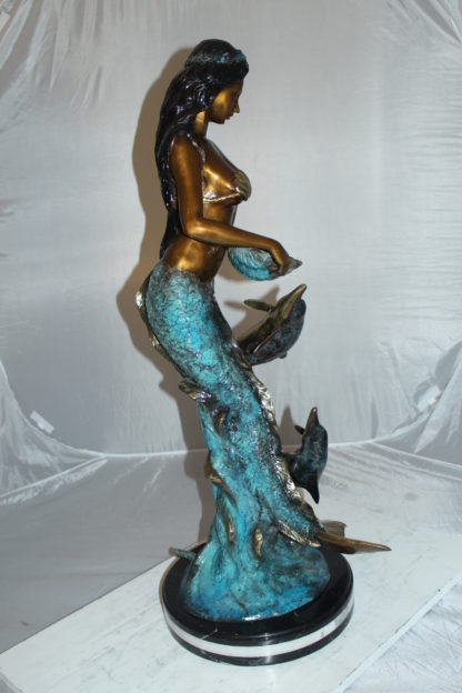"""Mermaid with Dolphin Fountain Bronze Statue -  Size: 16""""L x 16""""W x 39""""H."""