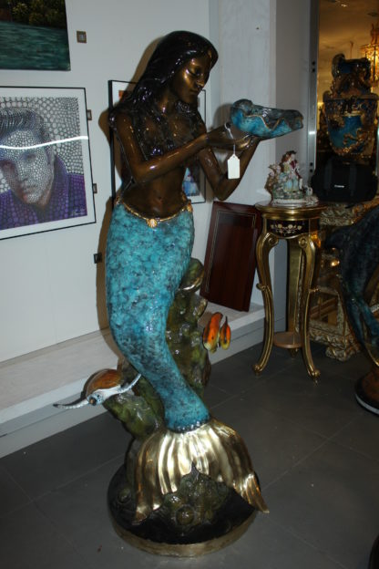 """Mermaid holding shell L, W turtle and fish Bronze fountain -  38"""" x 24"""" x 68""""H."""