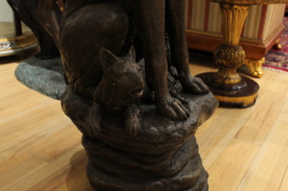 """Wolf and Cubs Bronze Statue -  Size: 24""""L x 17""""W x 48""""H."""
