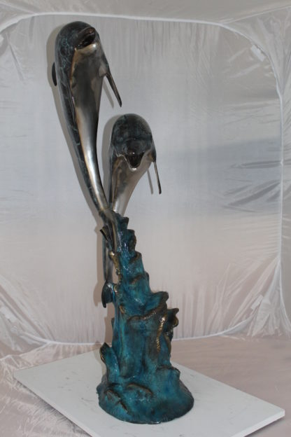 """Two Dolphins fountain Bronze Statue -  Size: 22""""L x 12""""W x 46""""H."""