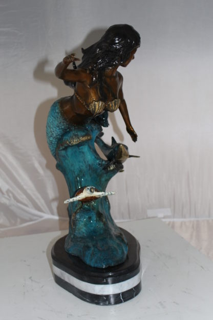 "Mermaid w Dolphin and turtle Bronze Statue -  Size: 19""L x 9""W x 22""H."