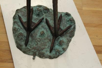 """Crane Fountain Head Down Fountain Bronze Statue -  Size: 23""""L x 17""""W x 56""""H."""