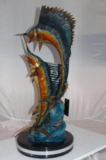 """Two Sailfish Fish Bronze Statue Bronze Statue -  Size: 20""""L x 16""""W x 34""""H."""