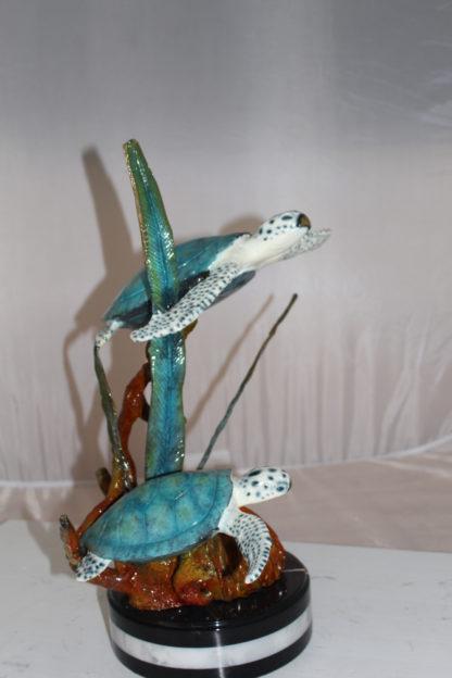 """Two Sea Turtles Swimming Bronze Statue -  Size: 17""""L x 9""""W x 20""""H."""