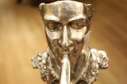 "Man Playing Trombone Bronze Statue -  Size: 8""L x 5""W x 14""H."
