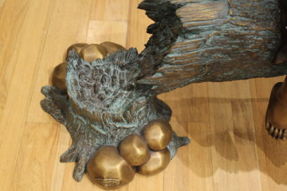 "Three Children On Log Holding Bird Bronze Statue -  Size: 55""L x 18""W x 38""H."