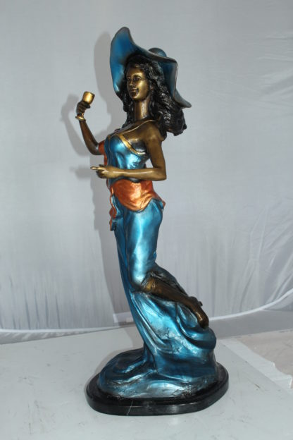 "Lady Holding a Wine Glass Bronze Statue -  Size: 9""L x 11""W x 26""H."