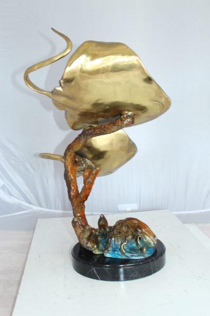 "Two Manta Ray Raging Bronze Statue -  Size: 17""L x 12""W x 22""H."