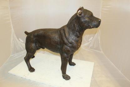 """Pit Bull Dog Bronze Statue -  Size: 33""""L x 11""""W x 26""""H."""