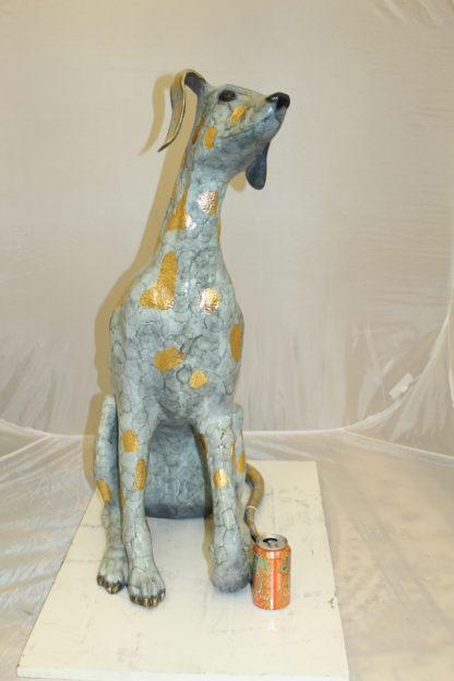"Pair of Golden Pleated Dalmatians Sitting Bronze Statue -  21""L x 16""W x 35""H."