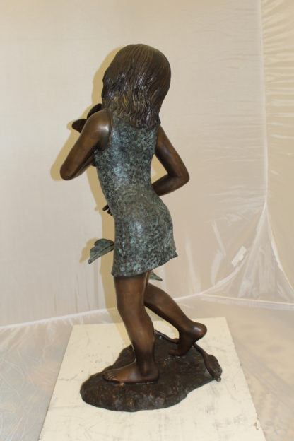 """Girl Holding a Flower Fountain Bronze Statue -  Size: 15""""L x 15""""W x 35""""H."""
