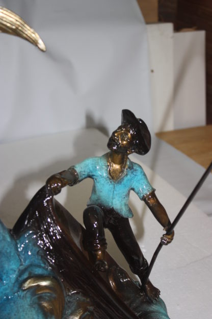 """Old man on boat Or fishing man -  Size: 16""""L x 12""""W x 40""""H."""