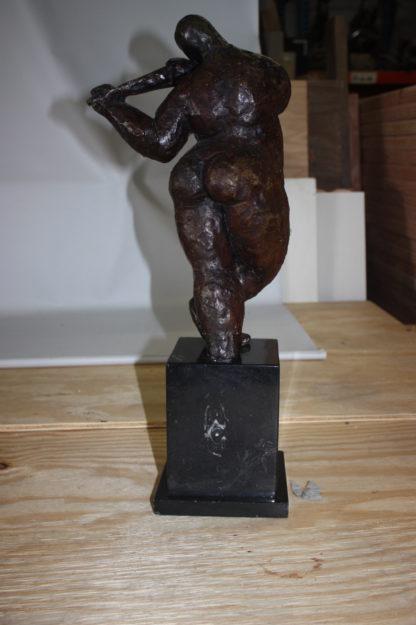 "Botero style lady plays violin - Bronze Statue -  Size: 9""L x 6""W x 21.5""H."