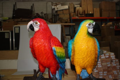 """Two Large Parrots on a tree - Bronze Statue -  Size: 43""""L x 28""""W x 67""""H."""