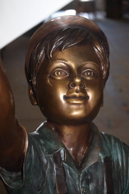 "Standing mailbox W boy dog and cat - Bronze Statue -  Size: 22""L x 18""W x 50""H."