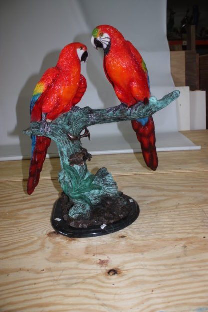 """Two Parrots on a tree - Bronze Statue -  Size: 20""""L x 12""""W x 23""""H."""