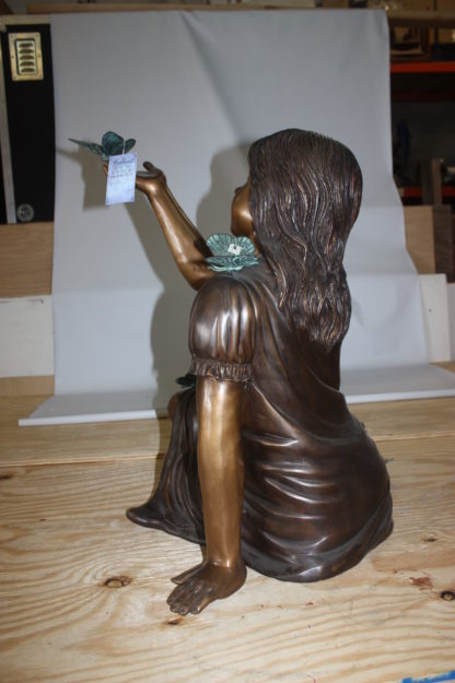 """Girl with butterflies  - Bronze Statue -  Size: 27""""L x 17""""W x 24""""H."""