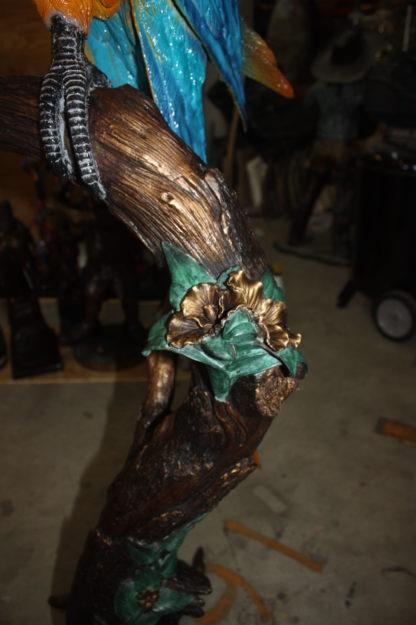 "Single Parrot on a tree - Bronze Statue -  Size: 30""L x 24""W x 66""H."