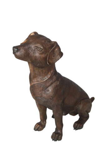 "Jack Russel dog standing Bronze Statue -  Size: 10""L x 6""W x 14""H."