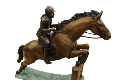 """Jockey and Horse Jump a Fence Bronze Statue -  Size: 60""""L x 30""""W x 51""""H."""