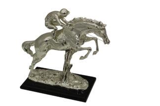 "Jockey on Horse Silver Finished  - Bronze Statue -  Size: 13""L x 5""W x 12""H."
