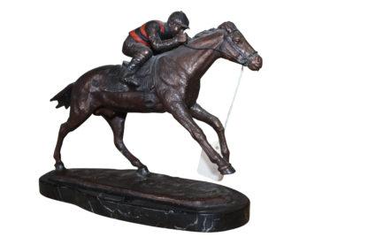 """Jockey on horse - Bronze Statue -  Size: 11""""L x 4""""W x 8""""H."""
