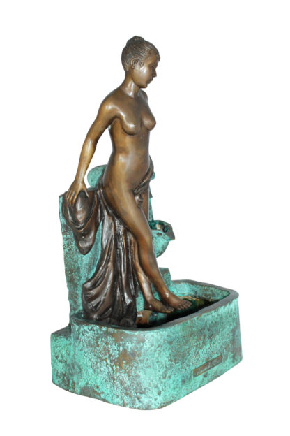 """Lady on Wall fountain Bronze Statue -  Size: 12""""L x 9""""W x 21""""H."""
