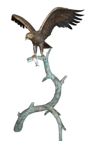 "Large Eagle standing on tree with his fish prey Bronze Statue -  60""x 40""x 75""H"