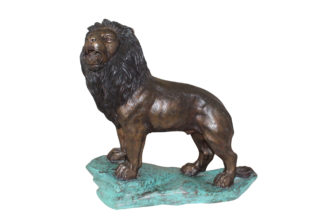 "Lion Standing Bronze Statue -  Size: 26""L x 10""W x 25""H."