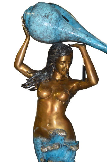 """Mermaid holding a shell - large Bronze Statue -  Size: 43""""L x 30""""W x 76""""H."""