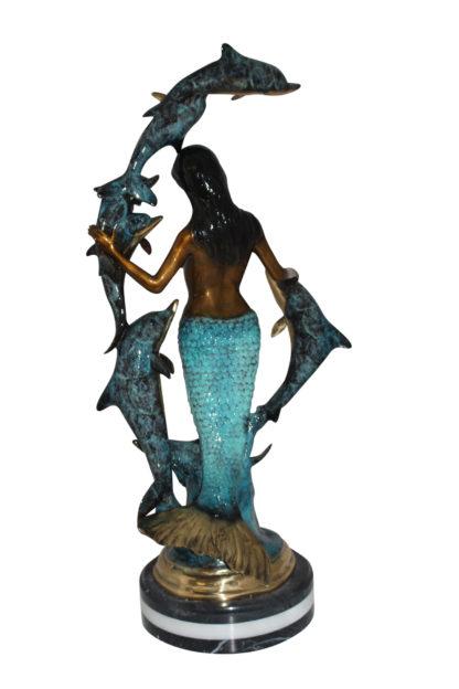 "Mermaid w 7 Dolphins Bronze Statue -  Size: 12""L x 12""W x 29""H."