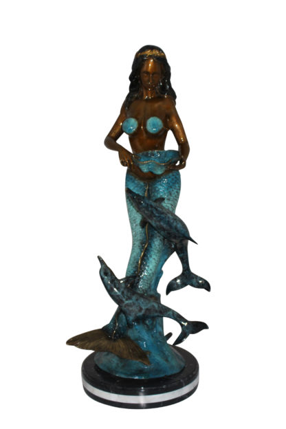 """Mermaid with 2 dolphins Bronze Statue -  Size: 14""""L x 14""""W x 28""""H."""