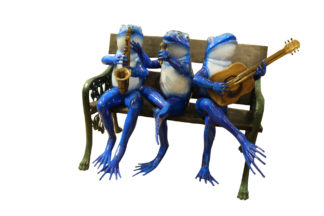"Musical Frogs on a Bench Bronze Statue -  Size: 41""L x 23""W x 33""H."