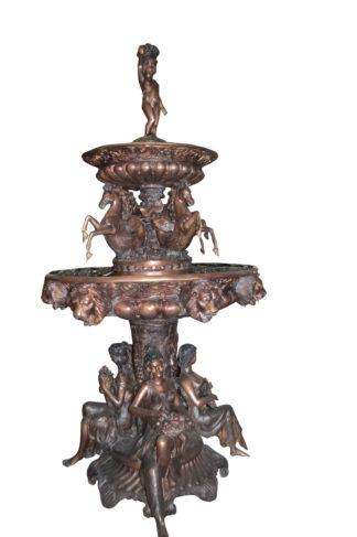 "Nine feet tall Bronze, Tiered Outdoor pond Fountain -  59""x 59"""
