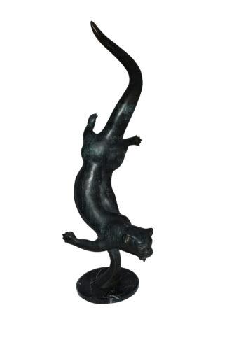 "Otter Bronze Statue -  Size: 15""L x 17""W x 44""H."