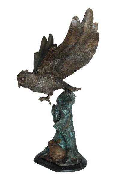 "Owl with Rabbit Bronze Statue -  Size: 20""L x 8""W x 22""H."