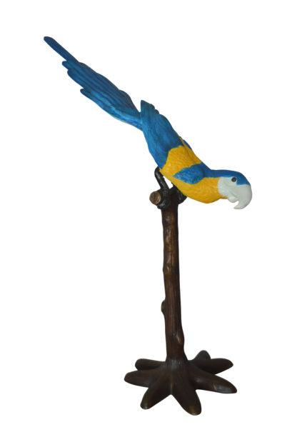 """Parrot on Tree - Head Down Bronze Statue -  Size: 39""""L x 15""""W x 47""""H."""