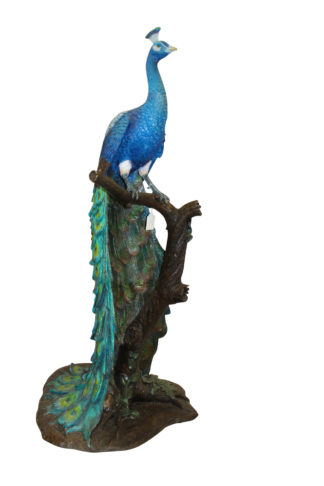 "Peacock on Tree Bronze Statue -  Size: 31""L x 30""W x 64""H."